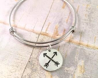 Arrow bangle bracelet, charm bracelet, Adjustable bangle bracelet, Follow your own arrow bracelet, Arrows of Friendship, gift for her