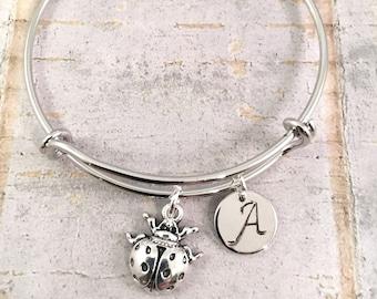 ladybug charm bracelet, Little Girl bracelet, initial charm bracelet, ladybug charm bracelet, little girl jewelry, lady bug charm