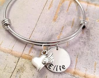 Heart Charm bracelet, Personalized name bracelet, Name bracelet, for daughter, best friend, adjustable bangle, stainless steel bracelet