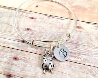 Little Girl bracelet, personalized initial charm bracelet, ladybug charm bracelet, extra small little girl jewelry, lady bug charm
