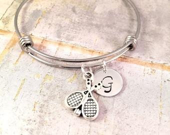 Tennis bracelet, charm bracelet,  Personalized Tennis bracelet,  Tennis racket charm, Racket Charm bracelet, for her, team gift