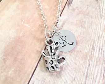 Teacher necklace, Thank you teacher gift, Art lover, Painter,Teacher personalized necklace, back to school teacher gift, teacher friend gift