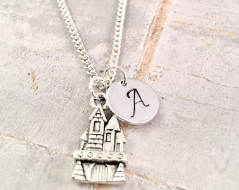 Little Girl necklace, personalized initial charm necklace, castle charm necklace,  little girl jewelry, HP Fandom