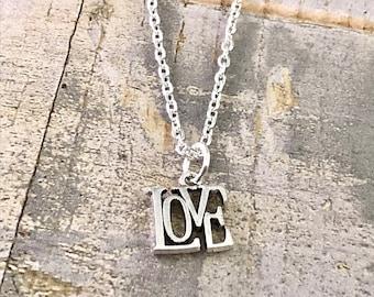 LOVE Necklace, Valentines day Necklace, Love Necklace, Silver Love Charm Necklace, Love Charm, Girlfriend Boyfriend Gift