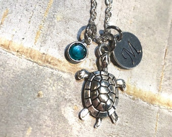 Turtle Necklace, Turtle Charm Necklace, Silver Turtle, Pendant, Initial Charm, Birthstone, Personalized,  Gift for her, turtle lovers