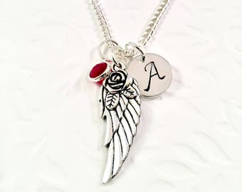 Angel wing necklace, Personalized Angel Wing Necklace, Memorial Necklace, Miscarriage Necklace, Loss Necklace, Memorial Gift for Her