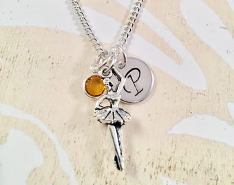 Personalized Ballerina Necklace, Initial dance necklace, personalized dancer jewelry, ballerina dancer necklace, Recital gift, gift for her