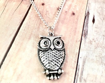 Owl necklace, adorable owl necklace, owl jewelry, for daughter, for mother, Silver Owl Necklace, Silver Owl Pendant, Silver Owl Jewelry