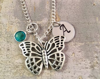Butterfly necklace, charm necklace, Personalized initial charm necklace, butterfly charm necklace, gift for her, butterfly kisses, mother