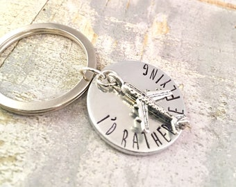 Airplane, pilot gift, aviation, I'd Rather Be Flying Keychain with airplane charm,  airplanes, stewardess, flight attendant gift, traveler