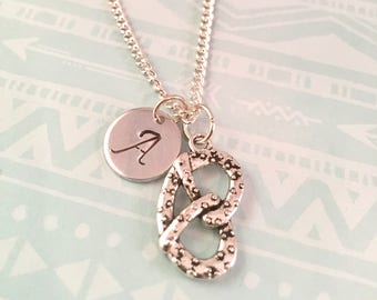 Best friend Pretzel Necklace, Pretzel Knot Charm Necklace, Initial Necklace,  Best friends gifts, Foodie, Mothers Day, Octoberfest Jewelry