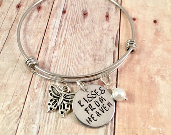 Memorial bracelet, Butterfly Bracelet, Kisses from Heaven Charm bracelet, for Friend , Large butterfly charm antique silver, Memorial