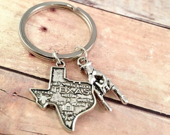 Texas Longhorn keychain, Texas State charm, UT Texas Longhorn charm, Lone Star Necklace, Hook Em Horns, State of Texas Charm, Texas College