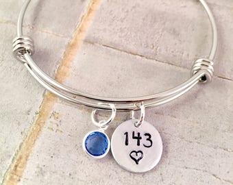 I love you Bracelet, 143 bracelet, silver charm Bracelet, love charm, birthday gift, adjustable bangle, gift for her, anniversary gift