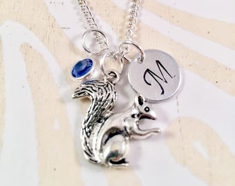 Silver Squirrel Necklace - Squirrel Charm Pendant - Personalized Necklace - Custom Gift - Squirrel Initial Necklace - Personalized Gift