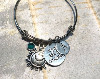 You are my sunshine bracelet, hand stamped bracelet, initial bracelet, sun charm, choose an initial, for little girl, for anniversary gift