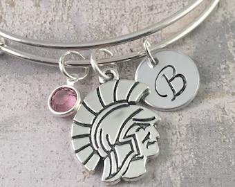 Spartan bracelet, Gladiator Charm bracelet, Graduation Bracelet, College charm, MSU Spartans Charm, High School Mascot Charm