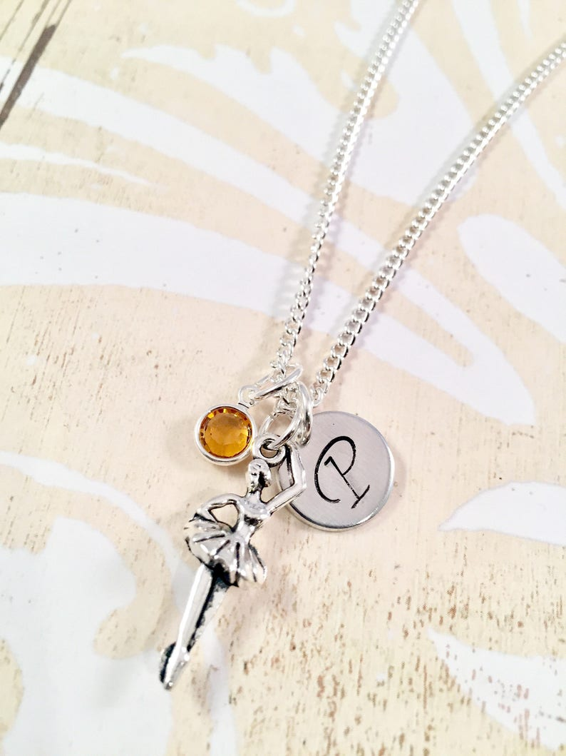 gift for her personalized dancer jewelry ballerina dancer necklace Recital gift Personalized Ballerina Necklace Initial dance necklace