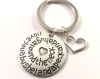 A bushel and a Peck keychain, Love you Key chainm, heart keychain, charm keychain, mother daughter