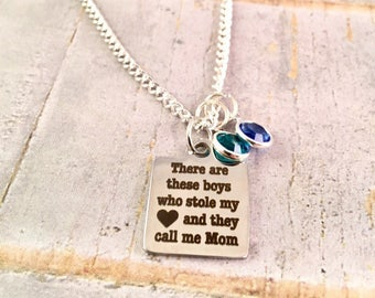 Mothers Necklace,  Personalized Mom birthstone Necklace, Mother of Boys, Family necklace, birthstones, stainless steel, Mothers Day Gift