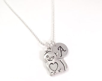 """Cat necklace, Cat charm Necklace, Kitty necklace, silver plated 20"""" ball chain necklace, cat lover, animal lover, cat rescue"""
