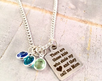 Mothers Necklace,  Personalized Mom birthstone Necklace, Family necklace, Mother of Boys, Mothers Day Gift