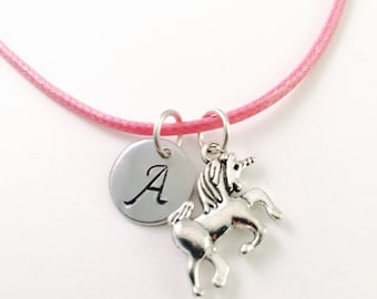 Unicorn necklace, girls charm necklace, unicorn charm, fantasy necklace, mystical charm, pink cord necklace, unicorn charm,