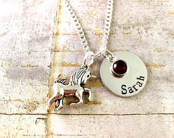 Unicorn charm Necklace with name, Daughter necklace, sister necklace. little girl necklace, grand daughter necklace, Unicorn
