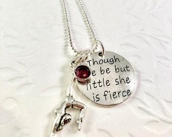 Personalized Gymnast necklace, girls necklace, girls birthday gift,  gymnast charm, birthstone charm, She be fierce