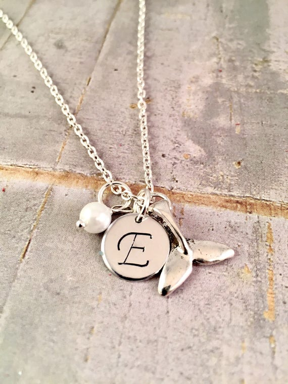 Stirling Silver Whale /& pearl necklace.GIFT  bridesmaid.Birthday Personalised