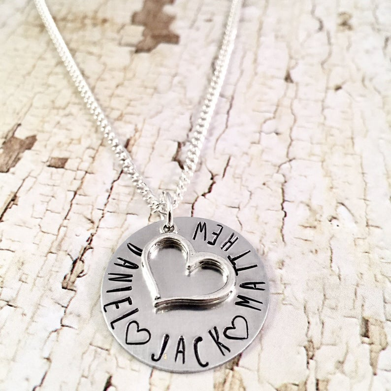 Mothers Necklace Personalized Heart Necklace Name necklace image 0
