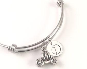 Personalized Princess bracelet, Cinderella charm Bracelet, Carriage Charm bracelet, for her,   birthday gift, adjustable