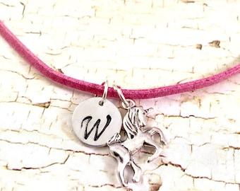 Unicorn necklace, charm necklace, unicorn charm, fantasy charm necklace, mystical charm, pink suede necklace, unicorn charm,