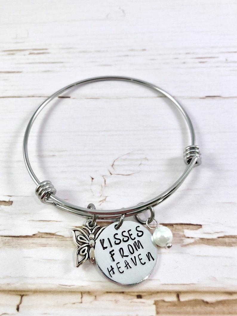 Memorial bracelet Butterfly Bracelet Kisses from Heaven image 0