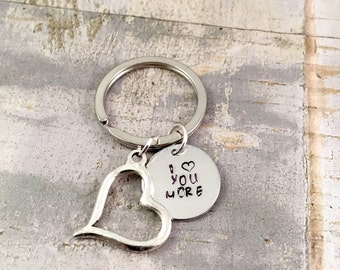 I love you more keychain, mother keychain, for daughter gift, best friend gift, Valentines Day, heart keychain, anniversary gift, bride gift