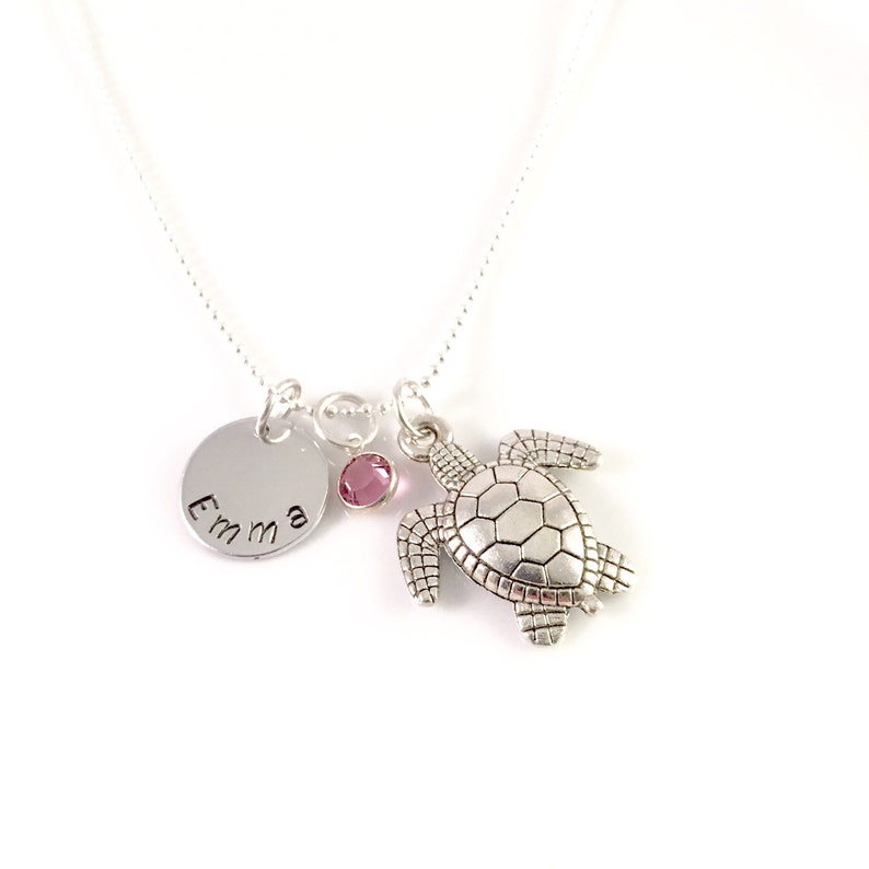 Personalized turtle necklace charm necklace sea turtle image 0