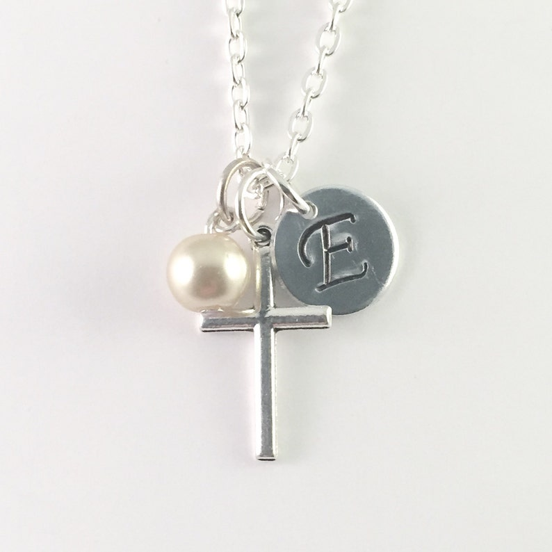 Personalized Cross and pearl Necklace Initial Cross necklace image 0