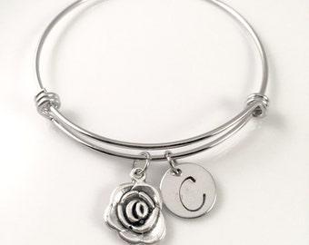 Personalized Mom's bracelet,  Rose charm Bracelet, Mothers day,  flower Charm bracelet, for her,  anniversary gift, birthday gift