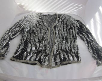 MOTHER Of The BRIDE or Evening Wear Sequined and Beaded JACKET Black Silver Gold