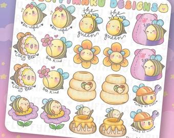 Bumble Bee Deco Sticker Set    Planner Stickers, Cute Stickers for Erin Condren (ECLP), Filofax, Kikki K, Etc.    DS41