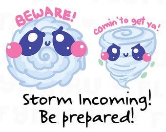 Storm and Tornado Warning || Planner Stickers, Cute Stickers for Erin Condren (ECLP), Filofax, Kikki K, Etc. || DPS186