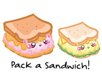 Fluffymaru Sandwich || Planner Stickers, Cute Stickers for Erin Condren (ECLP), Filofax, Kikki K, Etc. || SFS169
