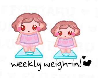 Weigh in Time Sammie || Planner Stickers, Cute Stickers for Erin Condren (ECLP), Filofax, Kikki K, Etc. || SFS108