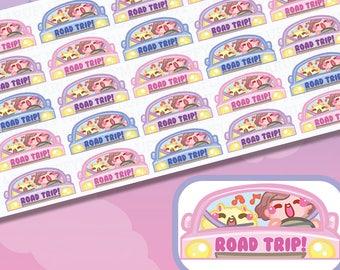 Biggie Sammie And Fluffymaru Roadtrip Sticker || Planner Stickers, Cute Stickers for Erin Condren (ECLP), Filofax, Kikki K, Etc. || BSS18