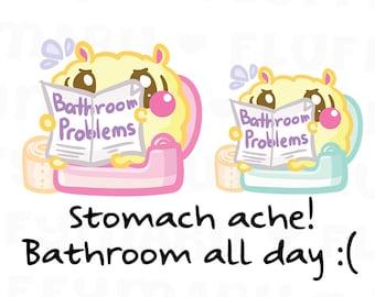 Bathroom Problems Fluffy    Planner Stickers, Cute Stickers for Erin Condren (ECLP), Filofax, Kikki K, Etc.    SFS164