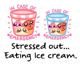 Emergency Ice Cream || Planner Stickers, Cute Stickers for Erin Condren (ECLP), Filofax, Kikki K, Etc. || DPS174