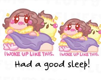 Woke up Like This Sammie And Fluffy || Planner Stickers, Cute Stickers for Erin Condren (ECLP), Filofax, Kikki K, Etc. || SFS73