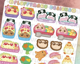 Bento Box Deco Sticker Set || Planner Stickers, Cute Stickers for Erin Condren (ECLP), Filofax, Kikki K, Etc. || DS04
