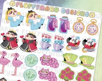Alice Deco Sticker Set || Planner Stickers, Cute Stickers for Erin Condren (ECLP), Filofax, Kikki K, Etc. || DS02