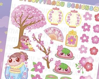 Cherry Blossoms Deco Sticker Set || Planner Stickers, Cute Stickers for Erin Condren (ECLP), Filofax, Kikki K, Etc. || DS32